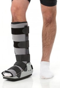 Knee walkers are ideal for someone with a lower leg injury like the one shown here.
